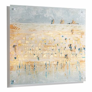 """Floating Lucite Kosel Wall Hanging Hand Painted Artwork Gold 24"""" x 28"""""""