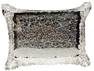 "Challah Bread Basket Silver Color Angular Lines Design 12"" x 15"""