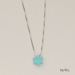 Necklace Star of David Blue Opal with Sterling Silver Chain 16""