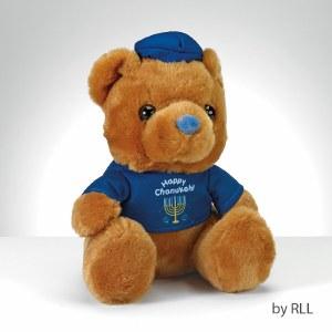 """Happy Chanukah"" Teddy Bear with Plush Draydel"