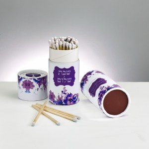Long Matches for Shabbos Purple Gift Box Design 60 Count