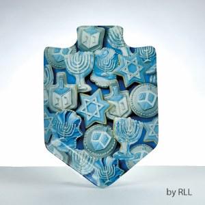 Dreidel Shaped Chanukah Cookies Design Glass Serving Tray