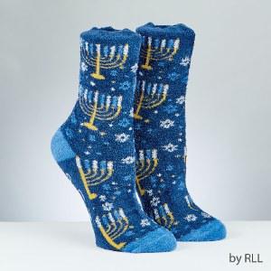 Chanukah Slipper Socks Menorah Design