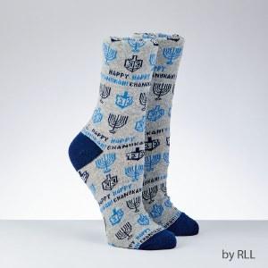 Chanukah Crew Socks for Adult Happy Chanukah Design Size 10-13