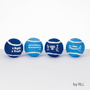 Chewdaica Dog Tennis Balls Chanukah Design Set of 4