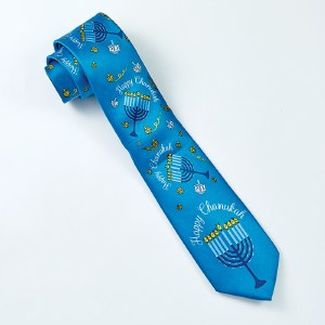 Faux Silk Chanukah Tie Menorah Design Blue