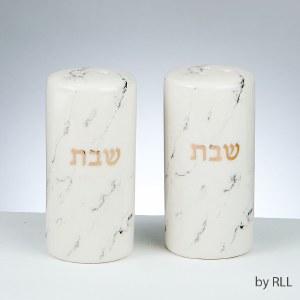 Ceramic Salt and Pepper Shaker Set Marble Design Gold Accent
