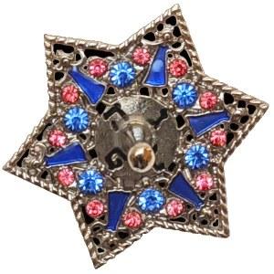 Metal Dreidel Jeweled Star Design Blue Pink