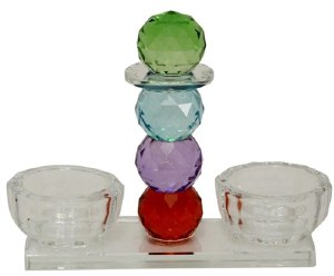 Glass Salt and Pepper Open Holder Set Multicolor Crystal Balls Design