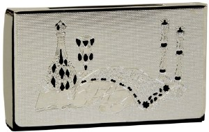 Matchbox Holder with Silver Colored Lazer Cut Shabbos Table Design