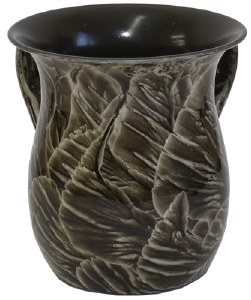Stainless Steel Wash Cup Black and Beige Leaf Design
