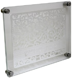 Challah Board Tempered Glass Silver Colored Laser Cut Swirled Floral Design