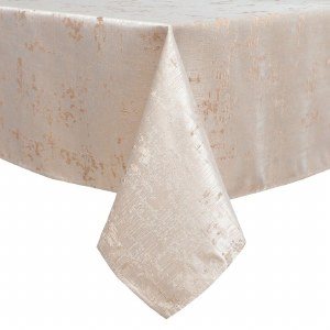 """Jacquard Tablecloth White and Gold Woven Design 70"""" x 144"""""""