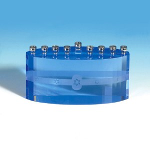 Candle Menorah Blue Ice Crystal Accentuated with Magen David Design