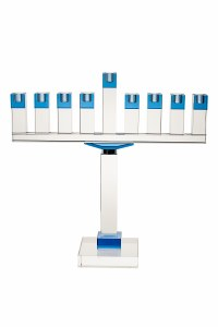 """Crystal Candle Menorah Rectangle Shape Blue Accent Top on Rectangle Base 19"""""""
