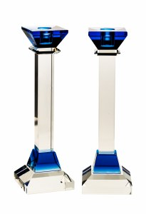 """Crystal Candlesticks Blue Accent 10"""""""