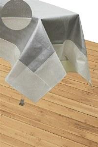 "Vinyl Tablecloth Silver Base Bordered with Cream Pebble Design 65"" x 90"""