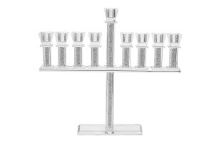 "Crystal Oil Menorah with Crushed Stones in Straight Stems 12""H"
