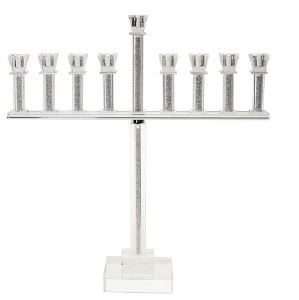 "Crystal Oil Menorah with Crushed Stones in Tall Straight Stems 20""H"