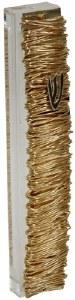 Lucite Mezuzah Case with Gold Colored Metal Wire Design 12cm