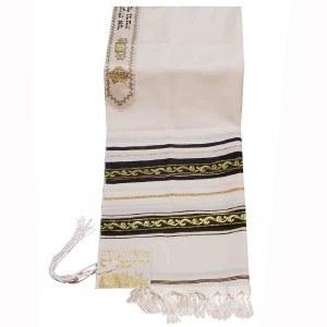 "Tallis Wool Size 60 Decorative Ribbon Style #5 Black and Gold 55"" x 75"""