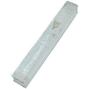 Clear Glass Mezuzah Case Shattered Glass Design with Silver Shin 12 cm