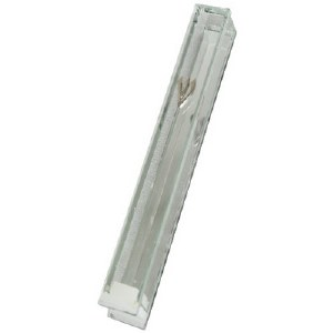 Clear Glass Mezuzah Case with Mirror Silver Shin - 12 cm