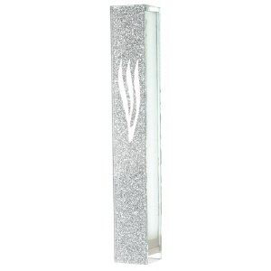 Glass Mezuzah with Silicon Seal Shimmery Silver Design 12cm