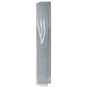 Glass Mezuzah Case Bubbles Design White Shin 12cm
