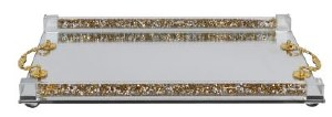 """Crystal Mirror Candlesticks Tray Floral Design Gold Handles Crushed Stone Filled Tubes Accent 8"""" x 12"""""""