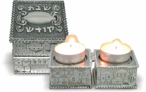 Nickel Travel Foldable Candlesticks in a Box with Cover Jerusalem Design