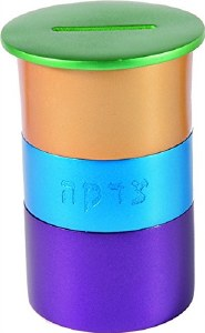 Yair Emanuel Tzedakah Box Round Multicolored Anodized Aluminum