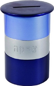 Yair Emanuel Tzedakah Box Round Blue and Silver Anodized Aluminum