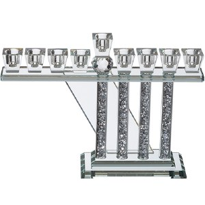 Crystal Oil Menorah Unique Shape with Crushed Stones in Straight Branches