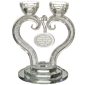 Crystal Candlesticks Heart Shaped 7""
