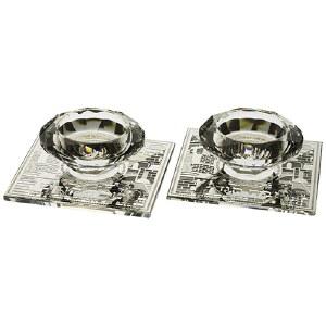"Crystal Candlesticks on Designed Metal Plate 4"""