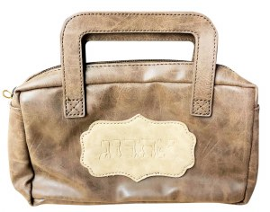 Esrog Pouch with Handle Brown Faux Leather
