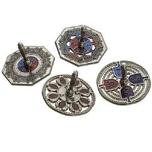 Dreidels Metal Assorted Designs Multi Colored 1 Piece