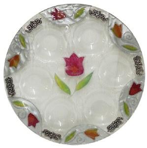 Round Seder Plate White Glass Colorful Tulip Design