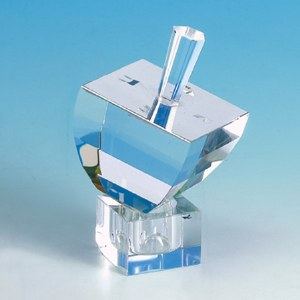 Crystal Dreidel with Mirror Top and Stand