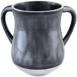 Aluminum Enamel Coated Washing Cup Two Tone Dark Grey and White Glitter Design
