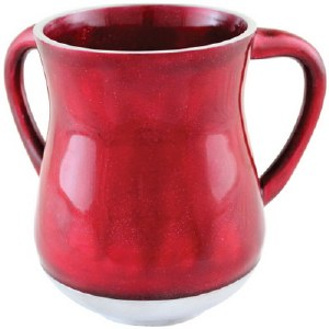 Aluminum Enamel Coated Washing Cup Two Tone Red and White Glitter Design