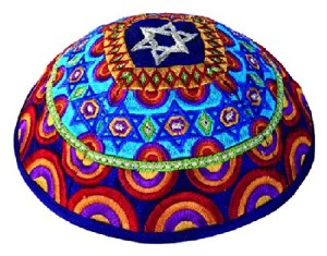 Yair Emanuel Embroidered Kippah - Magen David Multi-color