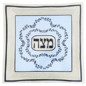 Glass Matzah Tray Light Blue