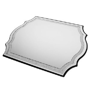 Mahogany and Glass Mirror Tray with Crushed Stones Border Design Elegant Shape