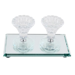 Crystal Candlesticks Round with Mirror Base