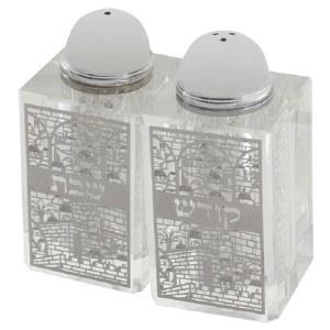 Crystal Salt and Pepper Shaker Set Silver Colored Laser Cut Metal Plaque Jerusalem Motif Square