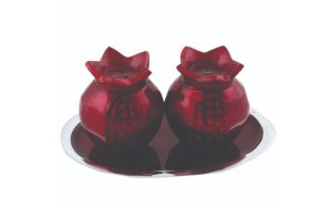 Aluminum Salt and Pepper Shaker Set Pomegranate Design with Saucer