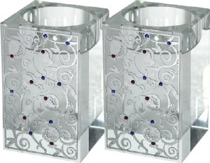 Candle Holders Square Crystal Silver Plated Design