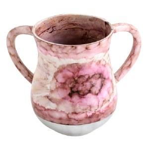 Aluminum Washing Cup Pink Flower Design